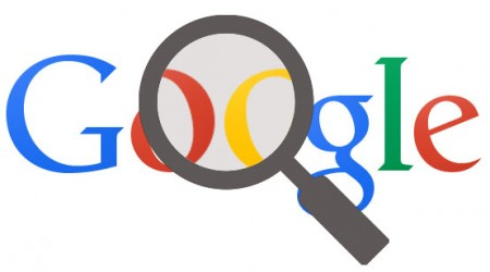 Google Logo with magnifying glass to improve visibility