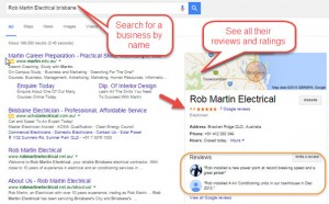 Google Search result for a business