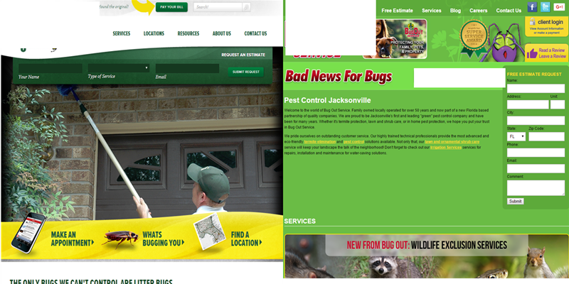 examples of good and bad pest control website design