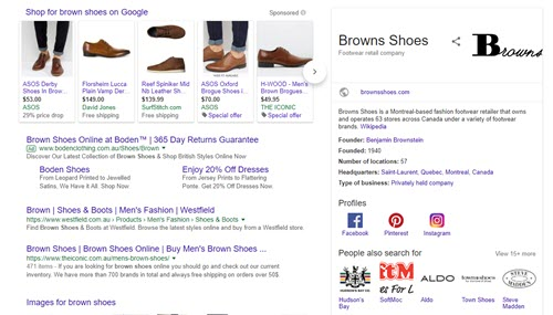 An example of Google's more visual search results
