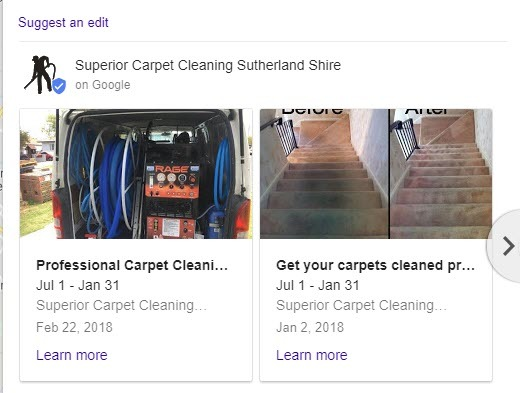 carpet cleaning google my business listing showing google posts