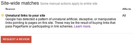 Unnatural Links Penalty Notice
