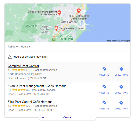 Google Maps Example for Pest Control