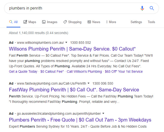 Example pf plumber google search advertising